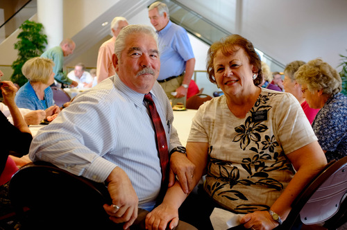 Trent Nelson  |  The Salt Lake Tribune Prison volunteers Mark and Lynda Udy, of Salina, attend celebration hosted by the Utah Department of Corrections to honor the volunteers who provide religious services at the Draper and Gunnison facilities. The event was Saturday June 1, 2013 at the LDS Conference Center in Salt Lake City.