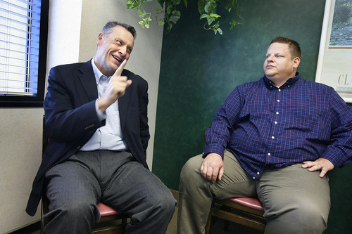 Scott Sommerdorf  |  The Salt Lake Tribune              Jeff Haaga, left, chats with Darren King at St. Mark's Hospital prior to King's weight-loss surgery in April 2012. Haaga was formerly on the board of the Weight Loss Surgery Foundation of America, which paid for a portion of King's surgery.