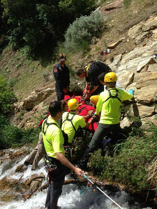 Courtesy Davis County Sheriff's Office Rescuers found and air lifted a 38-year-old man who injured his leg hiking Davis Creek Trail on Sunday afternoon.