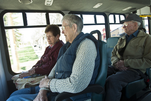 Chris Detrick  |  The Salt Lake Tribune Maxine Lorensen, 91, front, talks with Claudette Peterson while riding the Richfield Senior Center bus Wednesday April 10, 2013. George Hawley, 93, is at right.