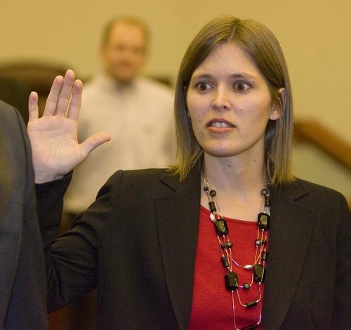 Melissa Johnson is sworn in as West Jordan's new Mayor  on  Monday, January 4,2010  photo:Paul Fraughton/ The Salt Lake Tribune