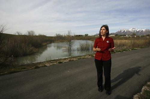 Rick Egan      The Salt Lake Tribune  Mayor Melissa Johnson talks about the Jordan River parkway, Monday, May 2, 2011.  West Jordan City recently set aside $250,000 to extend the Jordan River Parkway through the community, and Johnson has been instrumental in that effort.