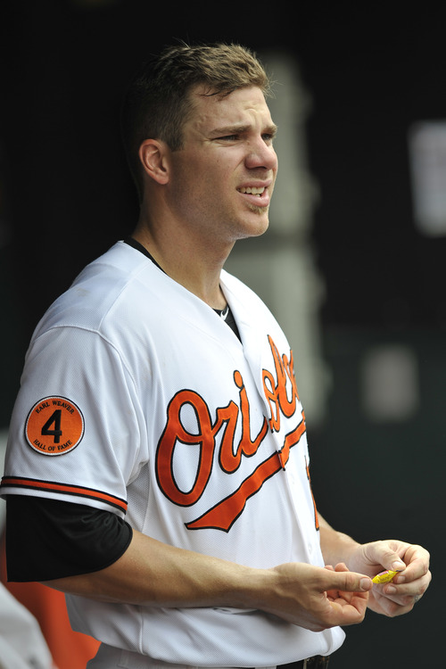 Baltimore Orioles Chris Davis looks on from the dugout in a baseball game against the Detroit Tigers  Sunday, June 2, 2013 in Baltimore. (AP Photo/Gail Burton)