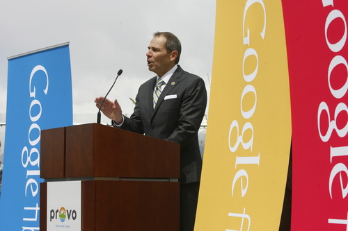 Rick Egan  | The Salt Lake Tribune   Provo Mayor John Curtis, says a few works after announcing that Provo will become one of Google's Fiber Optic cities, Wednesday, April 17, 2013.
