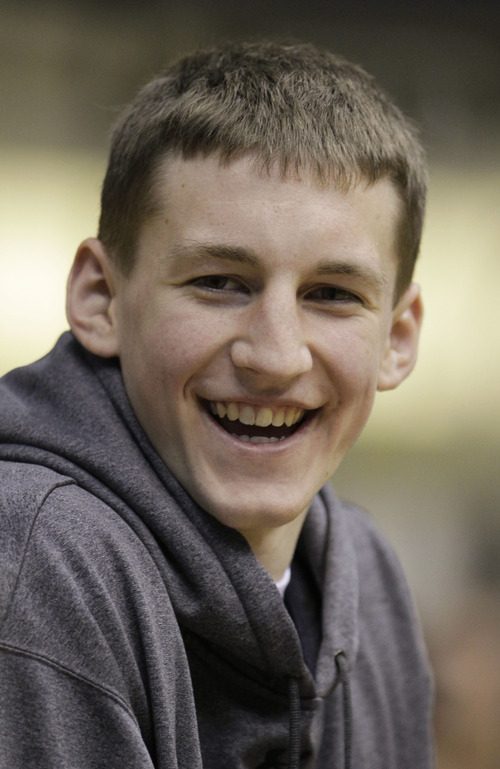 Indiana high school basketball standout Cody Zeller responds to a question after announcing that he will play basketball at Indiana during a news conference in Washington, Ind., Thursday, Nov. 11, 2010.  (AP Photo/Darron Cummings)