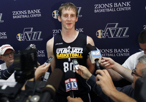 Al Hartmann  |  The Salt Lake Tribune Cody Zeller from Indiana speaks to media after working out for the Jazz coaching staff Monday June 3.
