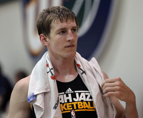 Al Hartmann  |  The Salt Lake Tribune Cody Zeller from Indiana cools down after working out for the Jazz coaching staff Monday June 3.