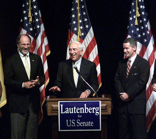FILE - In this Oct. 2, 2002 file photo, Frank Lautenberg, center is flanked by Sen. Jon Corzine, D-N.J., left, and Gov. James McGreevey, in Trenton, N.J., the day the N.J. Supreme Court said Democrats could replace Sen. Robert Torricelli with Lautenberg on the ballot in the upcoming election against Douglas Forrester. Lautenberg died Monday; June 3, 2013 at age 89. Lautenberg, initially a Republican, retired in 2000 after 18 years in the Senate, saying he did not have the drive to raise money for a fourth campaign, but he won the 2002 election and returned to the Senate at age 78, resuming his role as a leading liberal. (AP Photo/Rich Schultz, File)