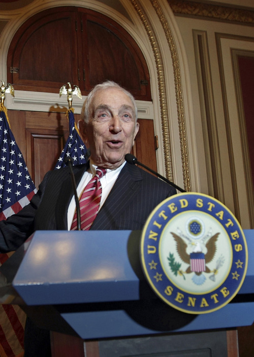 FILE - In this Nov. 2, 2011, file photo Sen. Frank Lautenberg, D-N.J., speaks during a news conference on Capitol Hill in Washington. Lautenberg, a multimillionaire New Jersey businessman and liberal who was called out of retirement for a second tour of duty in Congress, died Monday, June 3, 2013, at age 89. (AP Photo/J. Scott Applewhite, File)
