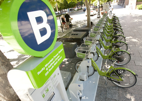 Steve Griffin | The Salt Lake Tribune GREENbike, Salt Lake City's bike-share program, has been wildly successful in its first six weeks. Here bikes are ready to go at the Gallivan Center on Monday June 3, 2013.
