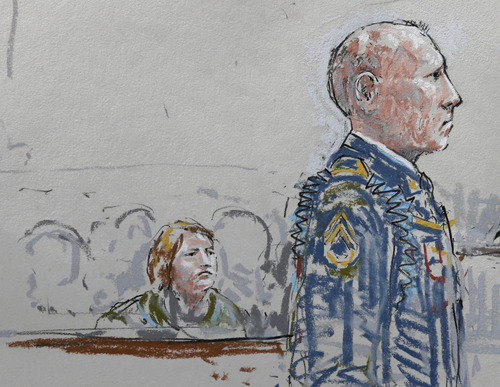 In this courtroom sketch, U.S. Army Staff Sgt. Robert Bales, right, stands in a military courtroom as Bales' wife Kari Bales looks on at left, Wednesday, June 5, 2013, during a plea hearing at Joint Base Lewis-McChord in Washington state. Robert Bales pleaded guilty to multiple counts of murder, stemming from a pre-dawn attack on two villages in Kandahar Province in Afghanistan in March, 2012. (AP Photo/Peter Millett)