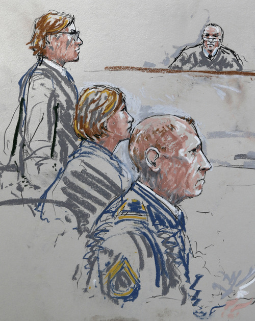 In this detail from a courtroom sketch, U.S. Army Staff Sgt. Robert Bales, lower right, sits with his civilian attorneys, John Henry Browne, left, and Emma Scanlan, second from left, Wednesday, June 5, 2013 as they appear before military judge Col. Jeffery Nance, right, during a plea hearing in a military courtroom at Joint Base Lewis McChord in Washington state. Bales pleaded guilty to multiple counts of murder, stemming from a pre-dawn attack on two villages in Kandahar Province in Afghanistan in March, 2012. (AP Photo/Peter Millett)