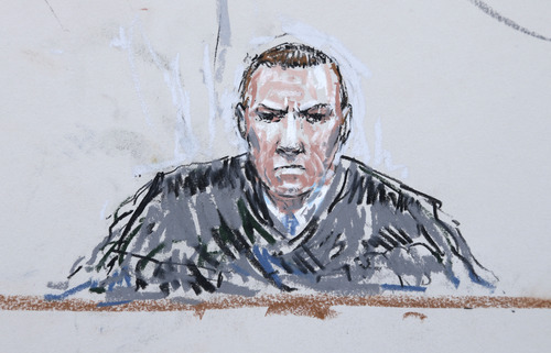 In this courtroom sketch, military judge Col. Jeffery Nance is shown Wednesday, June 5, 2013 during a plea hearing for U.S. Army Staff Sgt. Robert Bales in a military courtroom at Joint Base Lewis-McChord in Washington state. Bales pleaded guilty to multiple counts of murder, stemming from a pre-dawn attack on two villages in Kandahar Province in Afghanistan in March, 2012. (AP Photo/Peter Millett)