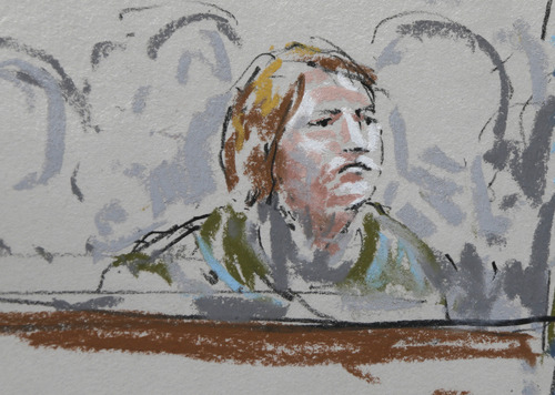 In this courtroom sketch, Kari Bales, the wife of U.S. Army Staff Sgt. Robert Bales, sits in a military courtroom, Wednesday, June 5, 2013, during a plea hearing for her husband at Joint Base Lewis McChord in Washington state. Robert Bales pleaded guilty to multiple counts of murder, stemming from a pre-dawn attack on two villages in Kandahar Province in Afghanistan in March, 2012. (AP Photo/Peter Millett)
