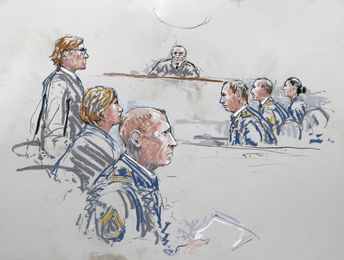 In this courtroom sketch, U.S. Army Staff Sgt. Robert Bales, third from front left, sits with his civilian attorneys, John Henry Browne, left, and Emma Scanlan, second from left, Wednesday, June 5, 2013 as they appear before military judge Col. Jeffery Nance, center, and the military's prosecution team at right, during a plea hearing in a military courtroom at Joint Base Lewis McChord in Washington state. Bales pleaded guilty to multiple counts of murder, stemming from a pre-dawn attack on two villages in Kandahar Province in Afghanistan in March, 2012. (AP Photo/Peter Millett)