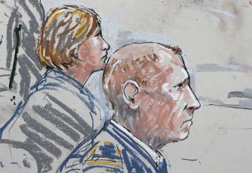 In this detail from a courtroom sketch, U.S. Army Staff Sgt. Robert Bales, right, sits with one of his civilian attorneys, Emma Scanlan, left, Wednesday, June 5, 2013 , during a plea hearing in a military courtroom at Joint Base Lewis McChord in Washington state. Bales pleaded guilty to multiple counts of murder, stemming from a pre-dawn attack on two villages in Kandahar Province in Afghanistan in March, 2012. (AP Photo/Peter Millett)