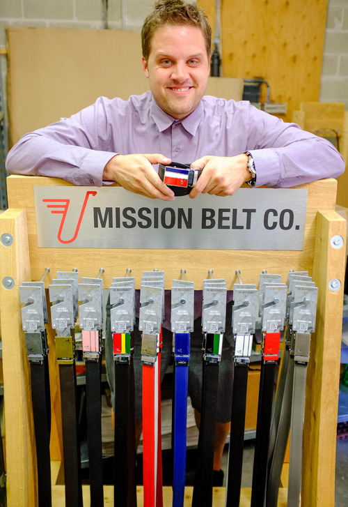 Trent Nelson  |  The Salt Lake Tribune Nate Holzapfel is co-founder of the Mission Belts Co., which gives $1 for every belt sold to a fund that supports economic development and entrepreneurship in developing countries.