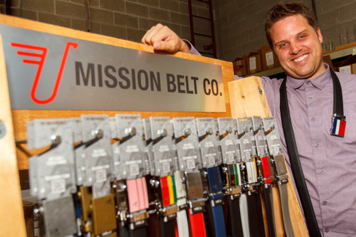 Trent Nelson  |  The Salt Lake Tribune Nate Holzapfel is a founder of the Provo-based Mission Belts Company, which gives $1 for every belt sold to a fund that supports economic development and entrepreneurship in developing countries. Its belts have no holes and uses a ratchet system to keep it tight. Tuesday June 4, 2013 in Provo.