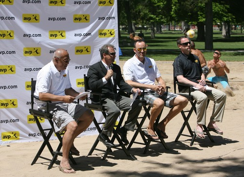 Rick Egan  | The Salt Lake Tribune   L-R Frank Tusieseina, Dick Carle, Jake Gibb, and Greg Ball talk about the AVP Pro Beach Volleyball Tour coming to Utah  in August, during a press conference at Liberty Park, Wednesday, June 5, 2013.
