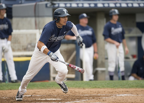 Jacob Hannemann plays a game vs. St. Mary's during the 2013 baseball season. The BYU outfielder is expected to be an early to mid-round pick in this week's MLB Draft. Courtesy photo