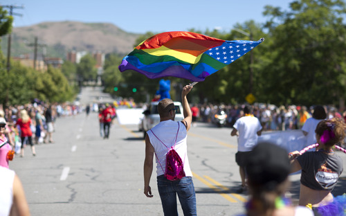 Lennie Mahler  |  The Salt Lake Tribune The Utah Pride Festival and supporters march in the annual Pride Parade in Salt Lake City, Sunday, June 2, 2013.