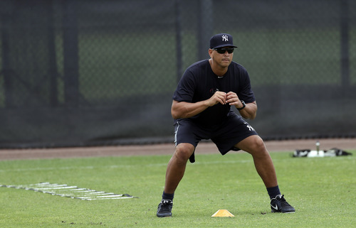New York Yankees' Alex Rodriguez runs through during a workout Wednesday, June 5, 2013, at the Yankees' minor league complex in Tampa, Fla. (AP Photo/Chris O'Meara)
