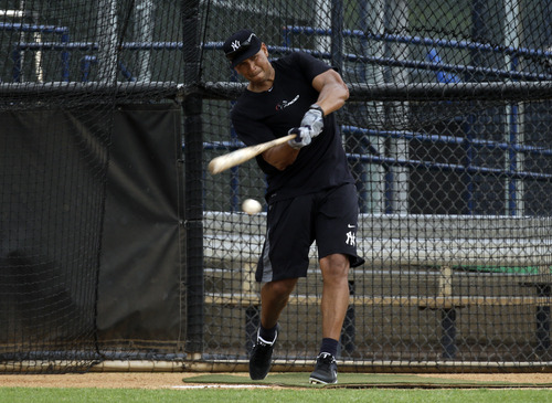 New York Yankees third baseman Alex Rodriguez hits in the batting cage during a workout Wednesday, June 5, 2013, at the Yankees' minor league complex in Tampa, Fla. (AP Photo/Chris O'Meara)