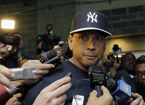 FILE - in this April 1, 2013, file photo, New York Yankees' Alex Rodriguez, who is on the disabled list after hip surgery, talks to reporters outside the Yankees' clubhouse in New York. A person familiar with the case tells The Associated Press Tuesday June 4, 2013 that the founder of a Miami anti-aging clinic has agreed to talk to Major League Baseball about players linked to performance-enhancing drugs. Alex Rodriguez, Ryan Braun, Nelson Cruz and Melky Cabrera are among the players whose names have been tied to the clinic. (AP Photo/Kathy Willens, File)