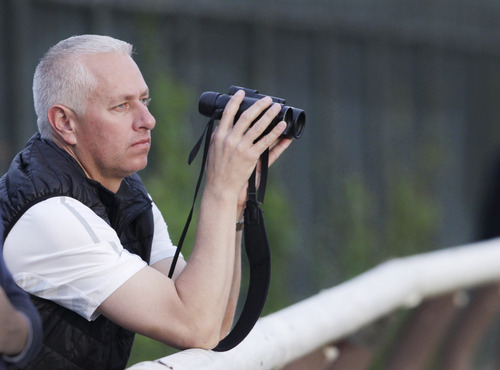 Trainer Todd Pletcher leans on the outside rail to watch his horses gallop on the track at Belmont Park during a morning workout Thursday, June 6, 2013 in Elmont, N.Y. Pletcher has five horses entered in Saturday's Belmont Stakes horse race. (AP Photo/Mark Lennihan)