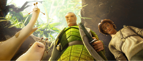 "This film publicity image released by 20th Century Fox shows characters, from left, Grub, voiced by Chris O'Dowd, Mub, voiced by  Aziz Ansari, Ronin, voiced by Colin Farrell, and Nod, voiced by Josh Hutcherson, in a scene from the animated film, ""Epic."" (AP Photo/20th Century Fox, Blue Sky Studios)"