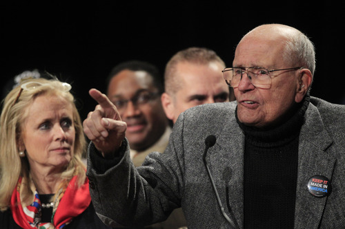 FILE - In this Nov. 6, 2012 file photo, Rep. John Dingell, D-Mich., addresses supporters during the Michigan Democratic election night party at the MGM Grand Detroit. Fifty seven years ago, Rep. Dingell, who this week becomes the longest serving member of Congress in history, nearly began his career in tears on the floor of the House. Members were delivering tributes to his father, John Dingell Sr., who had died recently. (AP Photo/Carlos Osorio, File)