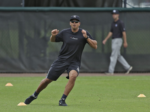 New York Yankees third baseman Alex Rodriguez runs through drills during a workout Wednesday, June 5, 2013, at the Yankees' minor league complex in Tampa, Fla. Major League Baseball has begun interviewing players linked to a Miami anti-aging clinic that allegedly sold performance-enhancing drugs and  became the focus of the sport's investigation. Rodriguez, Ryan Braun, Nelson Cruz, Melky Cabrera and Bartolo Colon are among more than a dozen players whose names have been tied to the now-closed clinic, Biogenesis of America. (AP Photo/Chris O'Meara)