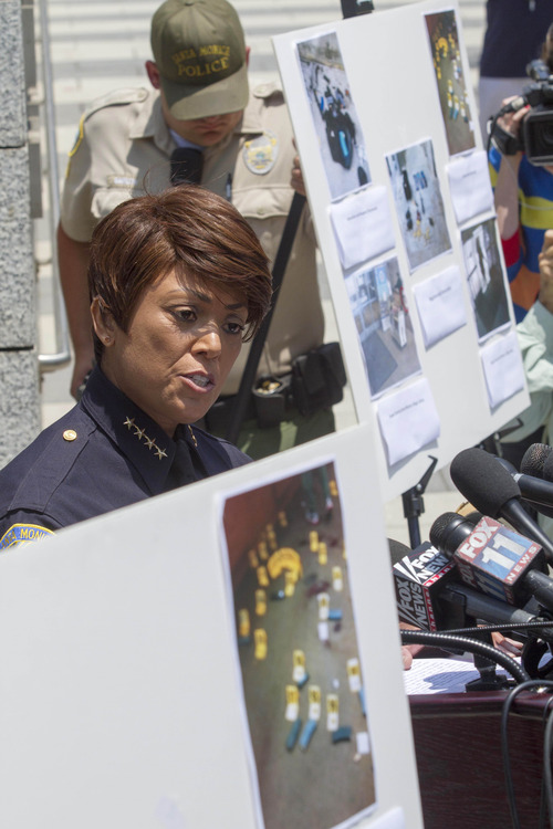 Santa Monica Police Chief Jacqueline Seabrooks  speaks during a news conference held by Santa Monica Police, Saturday June 8, 2013, in Santa Monica, Calif., Santa Monica Police Chief Jacqueline Seabrooks says the gunman who killed four people in a chaotic rampage planned the attack and had 1,300 rounds of ammunition.  (AP Photo/Ringo H.W. Chiu)