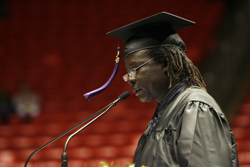 Francisco Kjolseth  |  The Salt Lake Tribune Horizonte High student speaker Adam Tong, a refugee from South Sudan speaks about becoming the first educated member of his family and his desire to become a lawyer to help them out during graduation ceremonies at the Huntsman Center on the University of Utah campus on Wednesday.