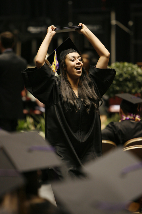 Francisco Kjolseth  |  The Salt Lake Tribune Jaimee Leigh Huff, 18, expresses her excitement after receiving her diploma during graduation ceremonies for Horizonte Instruction and Training Center at the Huntsman Center on the University of Utah campus on Wednesday.