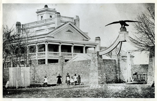 Tribune file photo  The Beehive House and Eagle Gate on South Temple. Date unknown.