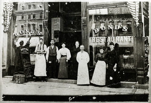 Tribune file photo  Bond's Restaurant, 117 S Main, Salt Lake City circa 1900.