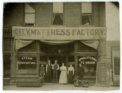 Tribune file photo  City Mattress Factory, 400 S Main, Salt Lake City, 1898.