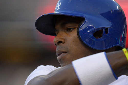 Los Angeles Dodgers' Yasiel Puig gets ready to bat during the first inning of their baseball game against the Atlanta Braves, Saturday, June 8, 2013, in Los Angeles.  (AP Photo/Mark J. Terrill)