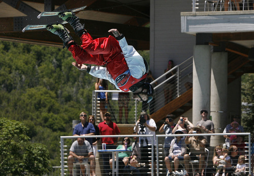 Scott Sommerdorf   |  The Salt Lake Tribune One of The Flying Ace All-Star Freestyle jumpers looks down to pick up his landing spot as the team opens it's summer season of shows at the Utah Olympic Park, Sunday, June 9, 2013.