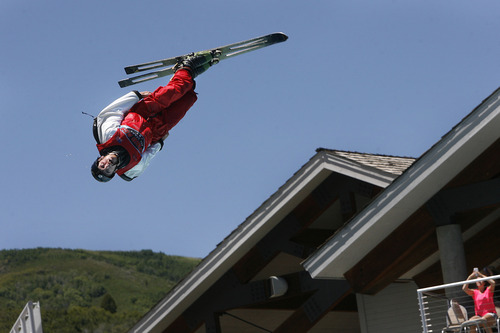 Scott Sommerdorf   |  The Salt Lake Tribune The Flying Ace All-Star Freestyle jumpers open their summer season of shows at the Utah Olympic Park, Sunday, June 9, 2013.