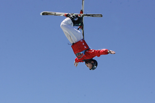 Scott Sommerdorf   |  The Salt Lake Tribune The Flying Ace All-Star Freestyle jumpers open their summer season of shows Sunday at the Utah Olympic Park, Sunday, June 9, 2013.