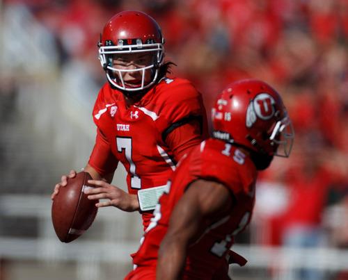 Trent Nelson  |  The Salt Lake Tribune Utah quarterback Travis Wilson (7) looks to pass as Utah hosts Washington State, college football at Rice-Eccles Stadium Saturday November 3, 2012 in Salt Lake City.