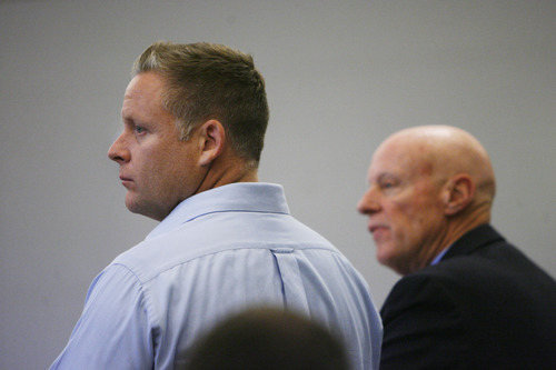 Francisco Kjolseth  |  The Salt Lake Tribune Brandon Babcock, left, appears in 3rd District Court in West Jordan for a pretrial conference on Monday, June 10, 2013, alongside his attorney James Haskins. The Utah chiropractor is accused of bilking the elderly through a scheme to cure their diabetes.