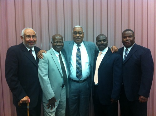 | Jerri Harwell Genesis Group leaders at the anniversary gathering left to right: Darius A. Gray - Eugene Orr (counselors to Ruffin Bridgeforth in the original Genesis Branch presidency) Donald L. Harwell (current Genesis president and past first counselor to Darius Gray and past second counselor to Ruffin Bridgeforth), Orin Howell (current first counselor to Don Harwell) and Eddie Gist (current second counselor to Don Harwell).