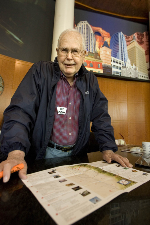 Paul Fraughton  |  Salt Lake Tribune Dale Hansen sits behind the information desk at the Salt Lake County Visitor Center.