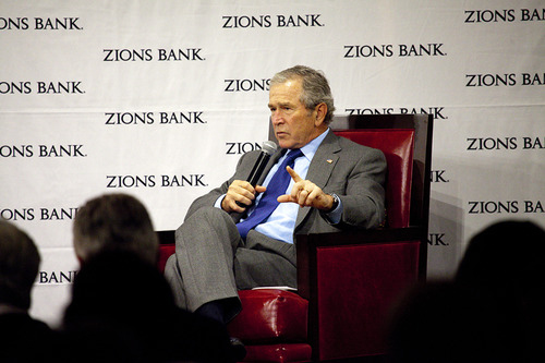 Former President George W. Bush spoke at Zions Bank's annual trade and business conference in Salt Lake City in May. His 90-minute talk was closed to the media. Courtesy Zions Banks