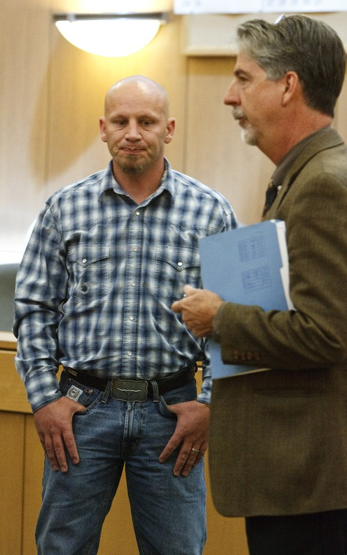 Leah Hogsten  |  The Salt Lake Tribune Scott Womack, the former Box Elder County sheriff's deputy accused of sexually assaulting women during a series of traffic stops, appeared before Judge Kevin K. Allen in 1st District Court, Wednesday May 8, 2013 with his attorney Bernard Allen. Attorneys delayed Womack's sentencing date to June 12, 2013 to correlate charges in federal court.