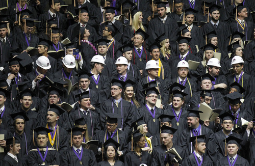 Al Hartmann  |  The Salt Lake  Weber State University graduates fill the Dee Event Center in April. Utah will have to significantly ramp up the number of gradutes to meet its goal of having 66 percent of residents with postsecondary credentials by 2020.