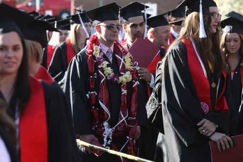 Rick Egan  | The Salt Lake Tribune  University of Utah graduates in May. Utah will have to significantly ramp up the number of gradutes to meet its goal of having 66 percent of residents with postsecondary credentials by 2020.